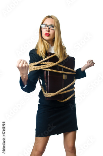 Woman in business concept on white