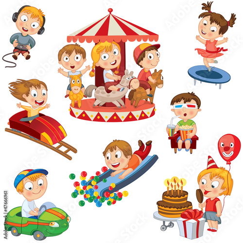 Amusement Park. Children ride on carousel, trampoline