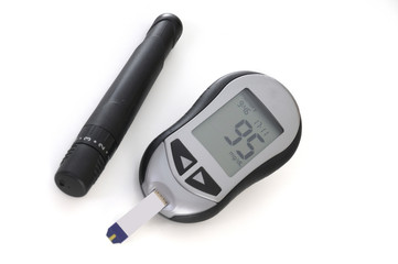 glucometer, with a 95 reading displayed.