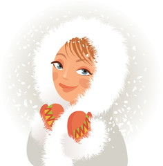Cute young girl in a fur coat and mittens, sweet smiles