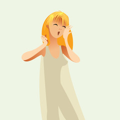 Good morning. Girl woke up in a nightie and yawns, vector