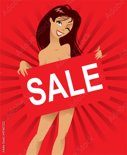 Beautiful nude woman with a poster, inscription sale, vector