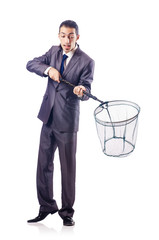 Businessman in business concept with net
