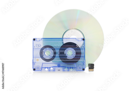Cassette tape, with a CD disc and Flash Memory Card