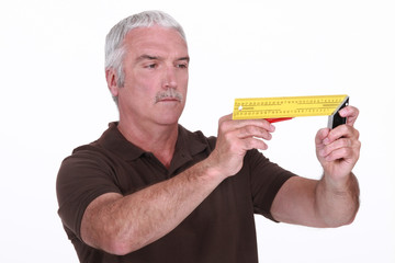 Man using a try square
