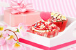 Valentine cupcake with a heart candle