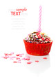 Valentine cupcake with a heart and candle