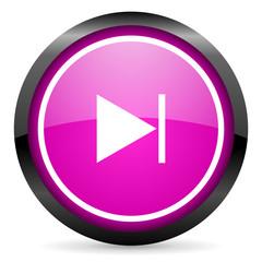 next violet glossy icon on white background