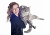 maine coon cat and woman