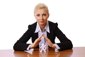 Businesswoman taking care about paper people