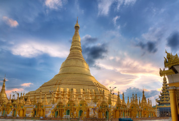 Shwedagon temple in Yangon, Burma