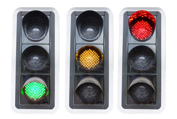traffic lights showing red green and red isolated