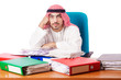 Arab businessman in business concept on white