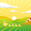 Vector of an Evening Landscape with Sweet Chicks