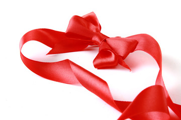 close up of red ribbon