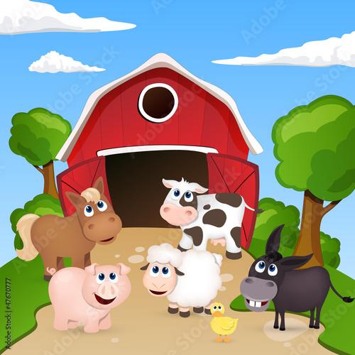 Foto op Canvas Boerderij Vector Farm Animals
