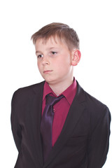 portrait of a teenager in a suit