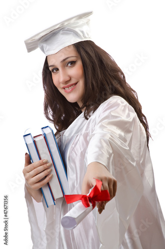Happy graduate on white background