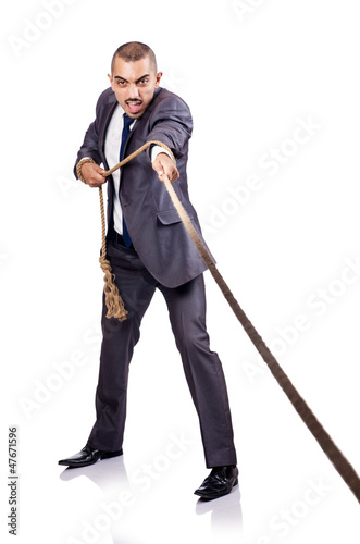 Man pulling the rope on white