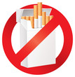 No smoking. On the dangers of smoking. Cigarette pack