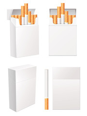 Collection of blank cigarette pack. Vector eps 10. Set
