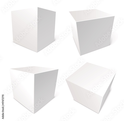 Blank box isolated on white background, vector, set