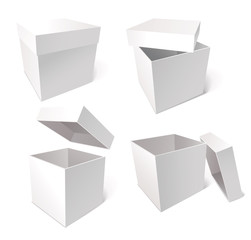 Collection of blank boxes isolated on white background