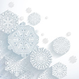 3D Abstract Snowflakes, vector illustration