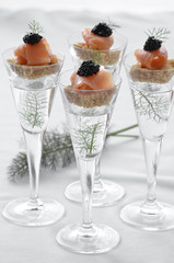 Smoked salmon and caviar canapes