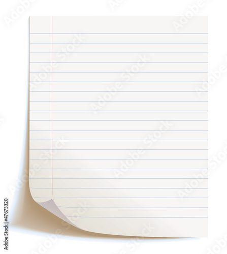 Blank worksheet exercise book, vector illustration