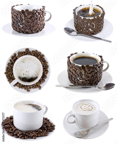 Collage of various coffee cups. Isolated