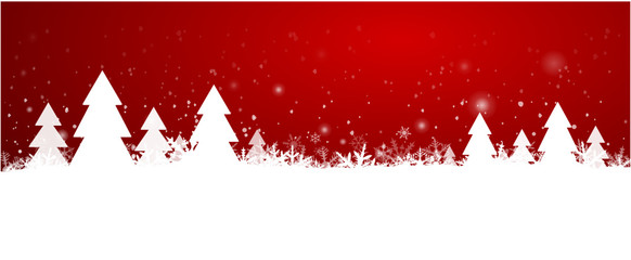 Red Christmas Background with trees