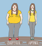 vector illustration of a woman before after diet