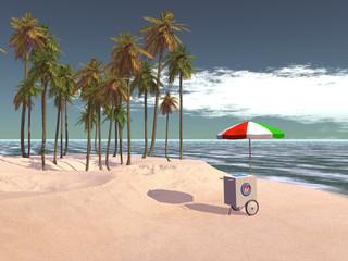 Carrito de helados en una playa tropical