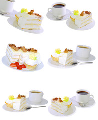 Various cakes  with fruits, strawberrys. Isolated
