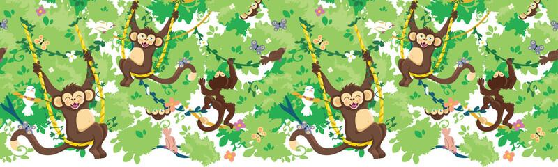 Happy monkeys vector horizontal seamless pattern background