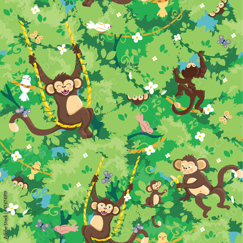Happy monkeys vector seamless pattern background with hand drawn