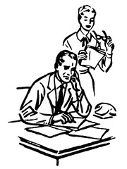 businessman working at a desk with his secretary