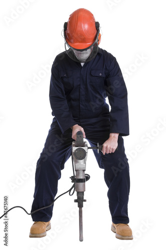 workman using pneumatic drill