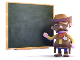 Cowboy stands at the blackboard