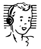 Portrait of boy wearing headphones and smiling