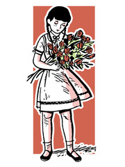 young girl holding a large offering of roses