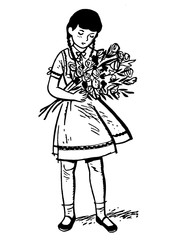 a young girl holding a large offering of roses