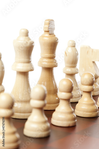 Classic Wooden Chessboard with Cheese Pieces