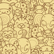 Wild animals vector seamless pattern background with hand drawn