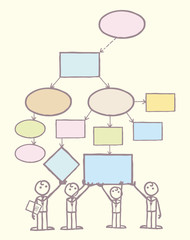 Collaboration on mind map vector template with hand drawn