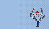 Handyman Tradesman Carpenter Mechanic Plumber Cartoon poster