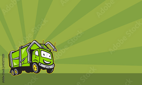 Waste Collection Garbage Rubbish Truck Cartoon