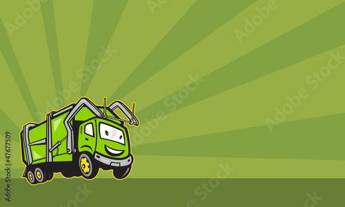 Waste Collection Garbage Rubbish Truck Cartoon