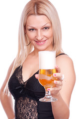 Blonde holding beer